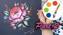 Zhostovo style by a filbert brush, Paint a Pink Rose, Acrylic painting, Part 2