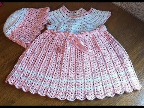 Комплект детский Зефирка с жемчугом крючком, 1 часть - платье