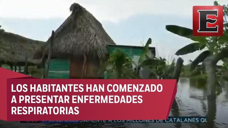 Fuertes lluvias provocan desbordamiento de Río Coatzacoalcos