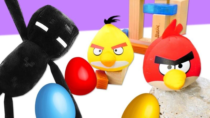 Minecraft Enderman ve Angry Birds iş birliği yapıp domuzları Minecraft dünyasına yolluyorlar