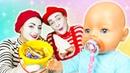 Беби Бон кушает сладости - Играем в куклы baby born - Мультики для девочек Как мама