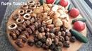 Шашлык из грибов шампиньонов. Картошка с салом на мангале.