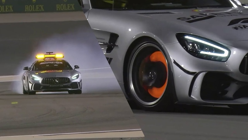 Drifting F1 Safety Car and glowing brake discs Bernd Mayländer AMG GTR on the limit Bahrain 2020