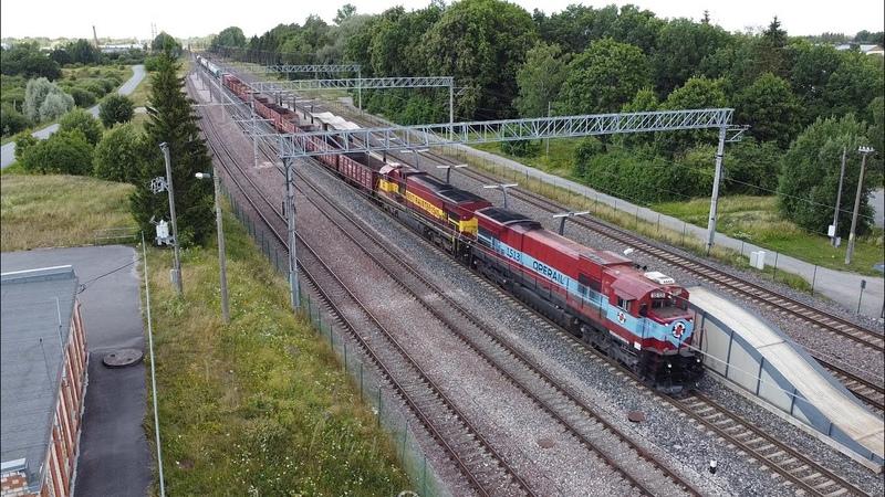 Тепловозы Ц36 7и 1513 1540 на ст Лагеди GE C36 7i 1513 1540 at Lagedi station