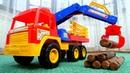 Лесовоз, Бульдозер, Грузовик сманипулятором— Видео машинки для мальчиков— Машины-помощники