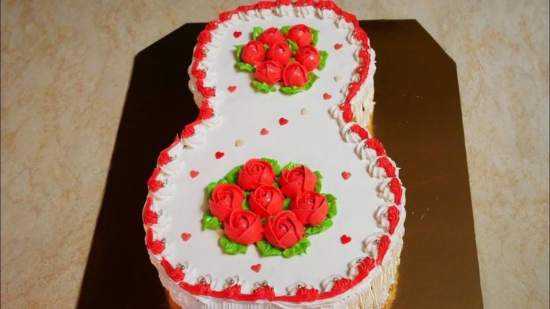 Торт на 8 марта Бисквитный торт с КЛУБНИЧНЫМ конфитюром Украшение тортов