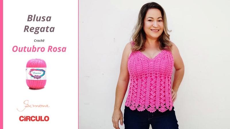 Blusa Regata de Crochê Outubro Rosa Prof Simone Eleotério