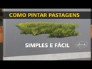 Como pintar pastagens grama ou capim SIMPLES E FÁCIL Pintura em tela
